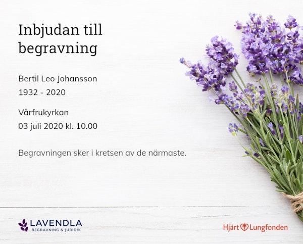 Inbjudningskort till ceremonin för Bertil Johansson