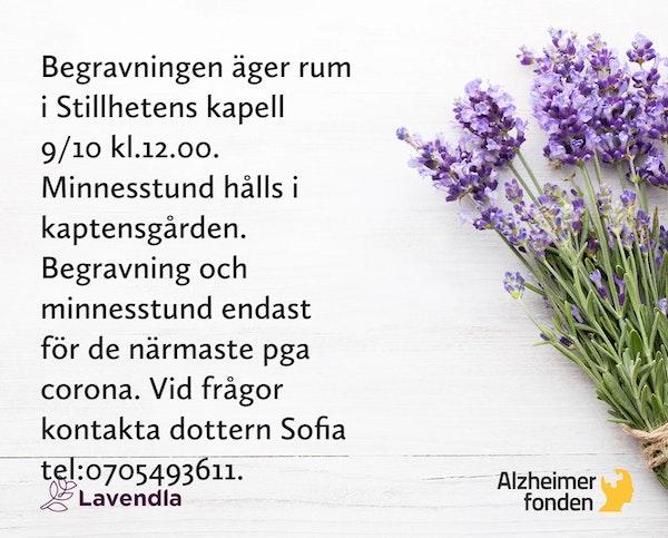 Inbjudningskort till ceremonin för Anna Kristina Forsberg