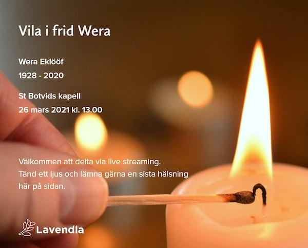 Inbjudningskort till ceremonin för Wera Eklööf