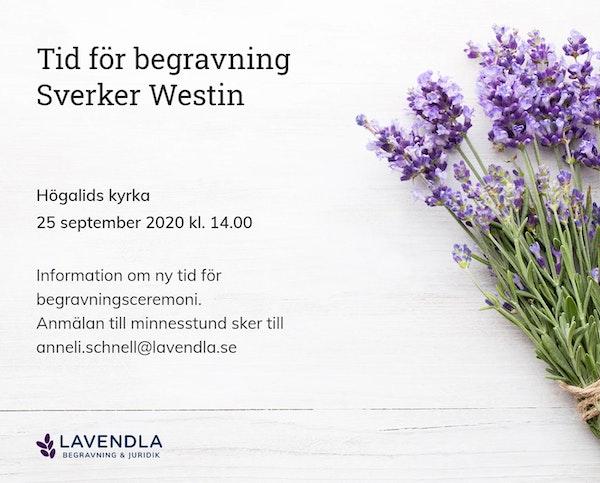 Inbjudningskort till ceremonin för Sverker Westin