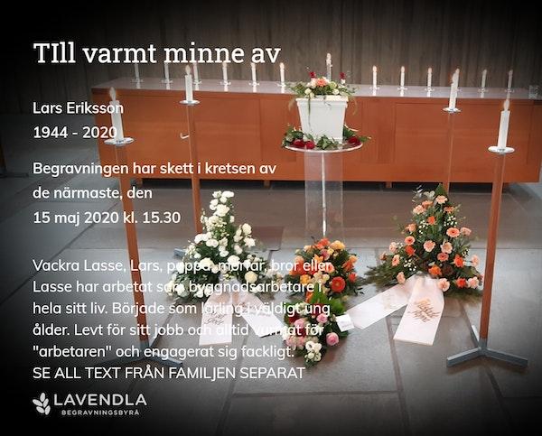 Inbjudningskort till ceremonin för Lars Eriksson