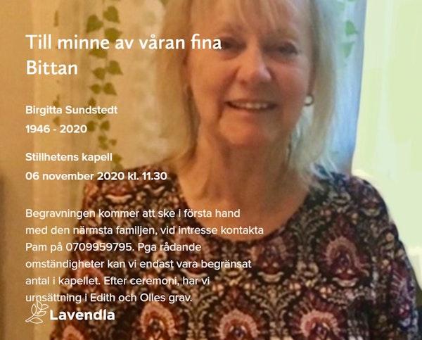 Inbjudningskort till ceremonin för Birgitta Sundstedt