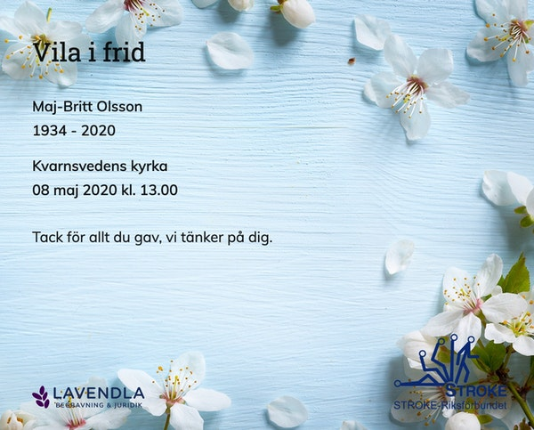 Inbjudningskort till ceremonin för Maj-Britt Olsson