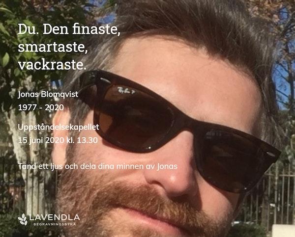 Inbjudningskort till ceremonin för Jonas Blomqvist