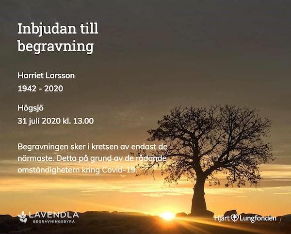 Inbjudningskort till ceremonin för Harriet Larsson