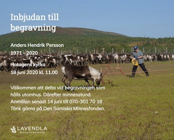 Inbjudningskort till ceremonin för Anders Hendrik Persson
