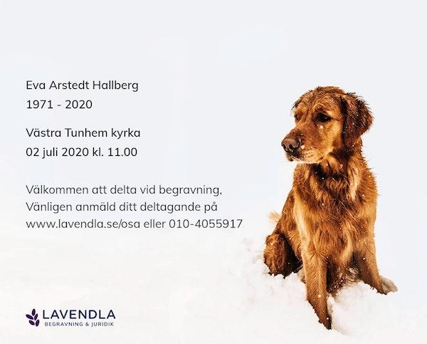 Inbjudningskort till ceremonin för Eva Arstedt Hallberg