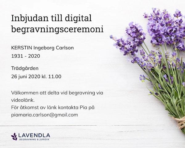 Inbjudningskort till ceremonin för KERSTIN Ingeborg Carlson