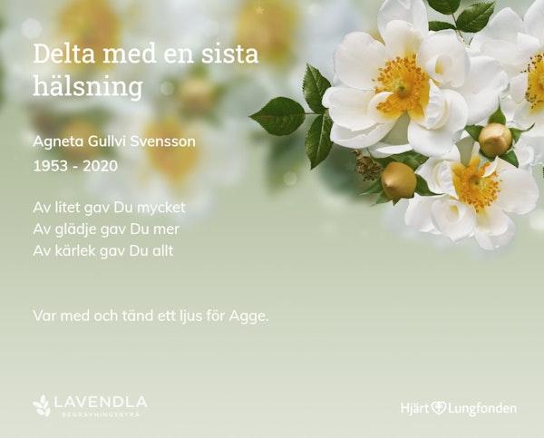 Inbjudningskort till ceremonin för Agneta Gullvi Svensson