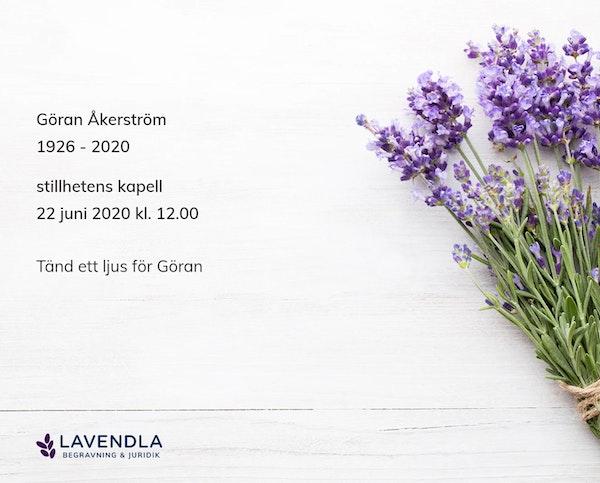 Inbjudningskort till ceremonin för Göran Åkerström