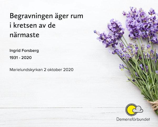 Inbjudningskort till ceremonin för Ingrid Forsberg