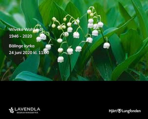 Inbjudningskort till ceremonin för Wiveka Wahlund