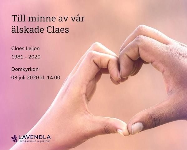 Inbjudningskort till ceremonin för Claes Leijon