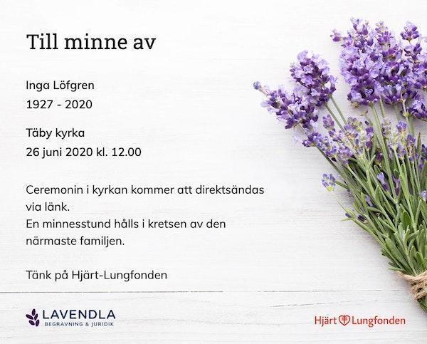Inbjudningskort till ceremonin för Inga Löfgren
