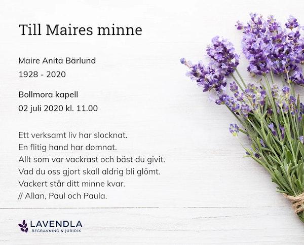 Inbjudningskort till ceremonin för Maire Anita Bärlund