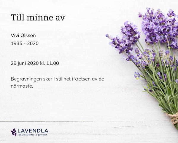 Inbjudningskort till ceremonin för Vivi Olsson