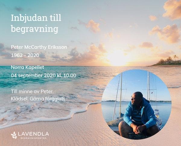 Inbjudningskort till ceremonin för Peter McCarthy Eriksson