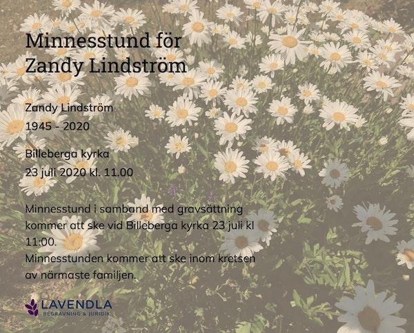 Inbjudningskort till ceremonin för Zandy Lindström