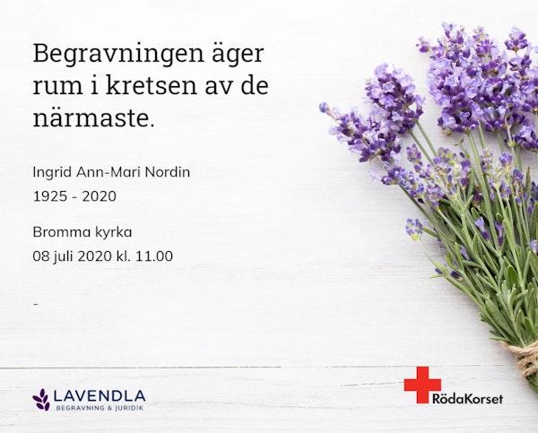 Inbjudningskort till ceremonin för Ingrid Ann-Mari Nordin