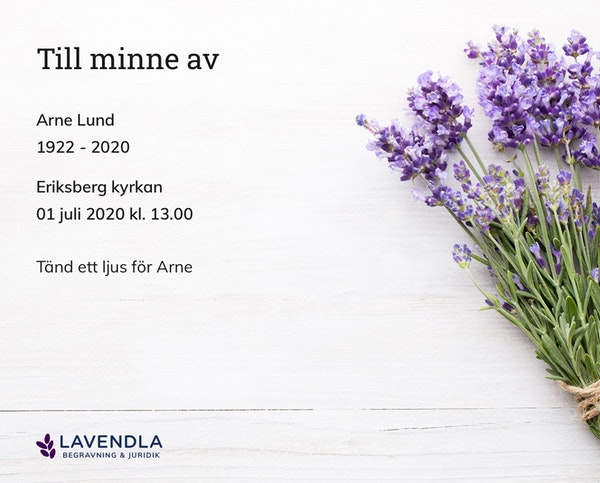 Inbjudningskort till ceremonin för Arne Lund