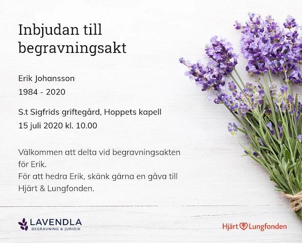 Inbjudningskort till ceremonin för Erik Johansson