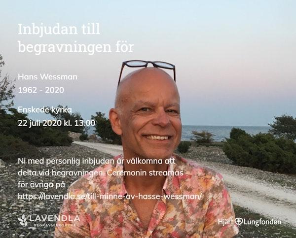 Inbjudningskort till ceremonin för Hans Wessman