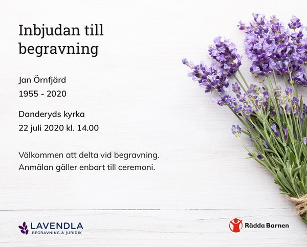 Inbjudningskort till ceremonin för Jan Örnfjärd