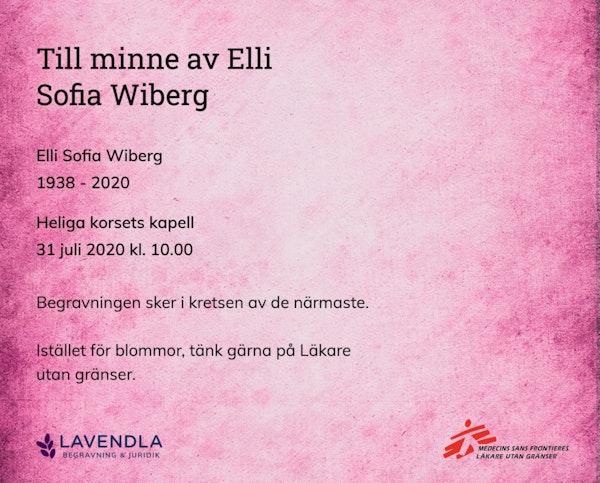 Inbjudningskort till ceremonin för Elli Sofia Wiberg