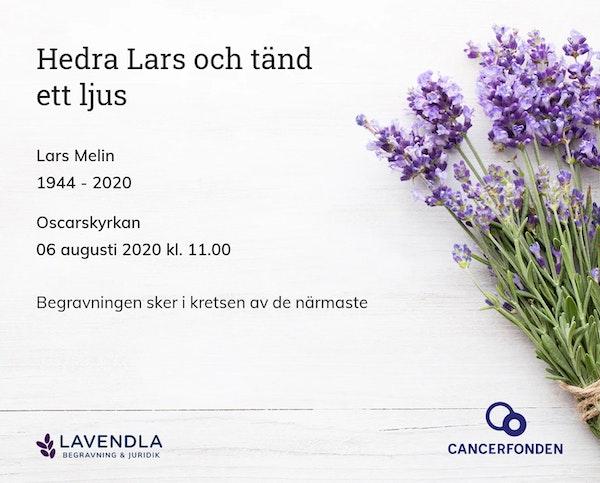Inbjudningskort till ceremonin för Lars Melin