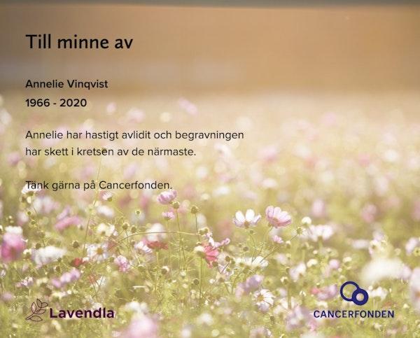 Inbjudningskort till ceremonin för Annelie Vinqvist