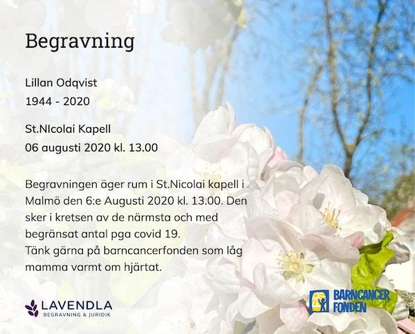 Inbjudningskort till ceremonin för Lillan Odqvist