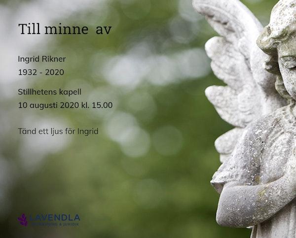 Inbjudningskort till ceremonin för Ingrid Rikner