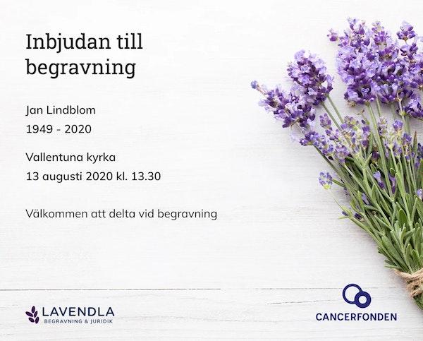 Inbjudningskort till ceremonin för Jan Lindblom