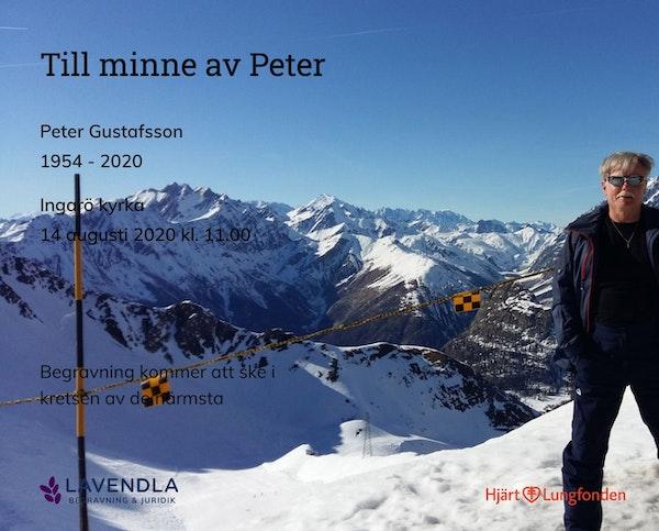 Inbjudningskort till ceremonin för Peter Gustafsson