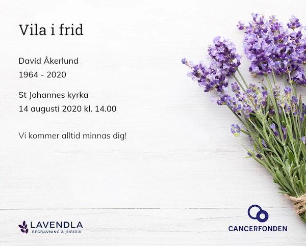 Inbjudningskort till ceremonin för David Åkerlund