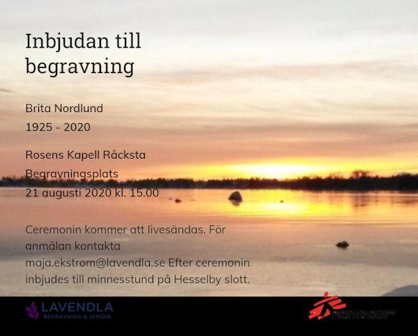 Inbjudningskort till ceremonin för Brita Nordlund