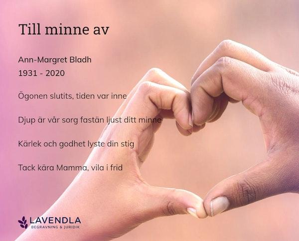 Inbjudningskort till ceremonin för Ann-Margret Bladh