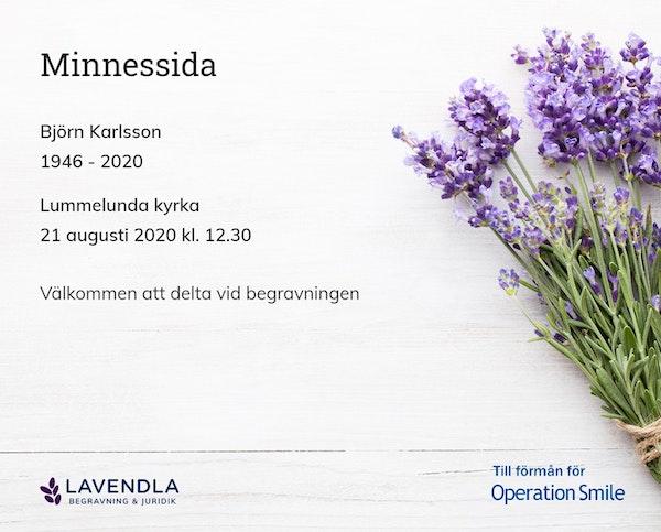 Inbjudningskort till ceremonin för Björn Karlsson