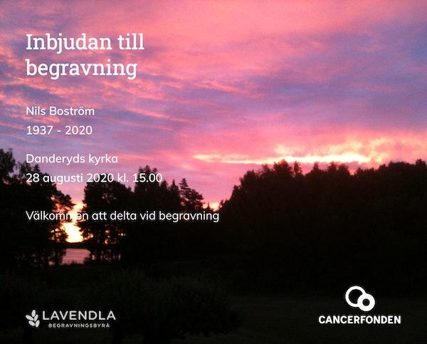 Inbjudningskort till ceremonin för Nils Boström