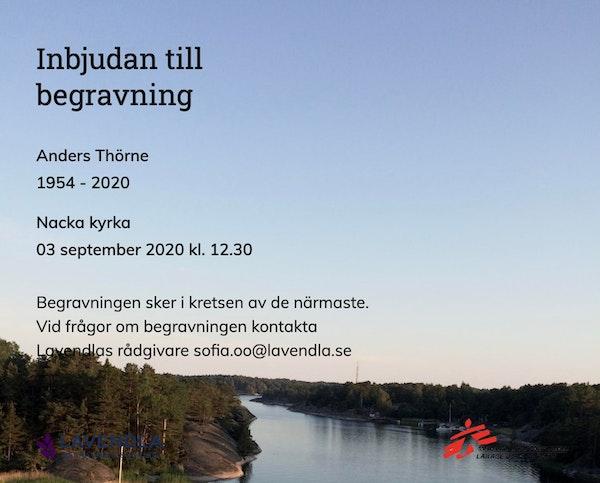 Inbjudningskort till ceremonin för Anders Thörne