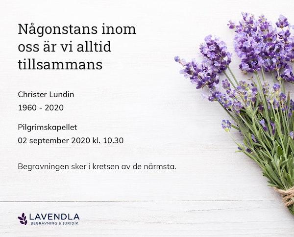 Inbjudningskort till ceremonin för Christer Lundin