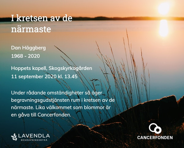 Inbjudningskort till ceremonin för Dan Häggberg