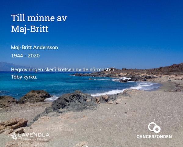 Inbjudningskort till ceremonin för Maj-Britt Andersson