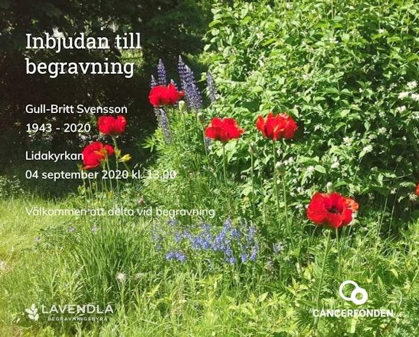 Inbjudningskort till ceremonin för Gull-Britt Svensson