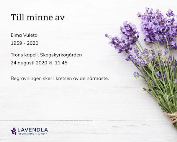 Inbjudningskort till ceremonin för Elma Vuleta