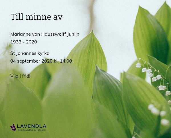 Inbjudningskort till ceremonin för Marianne von Hausswolff Juhlin