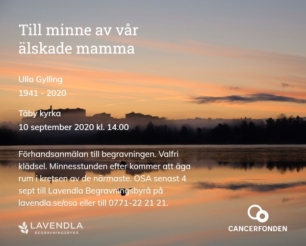 Inbjudningskort till ceremonin för Ulla Gylling