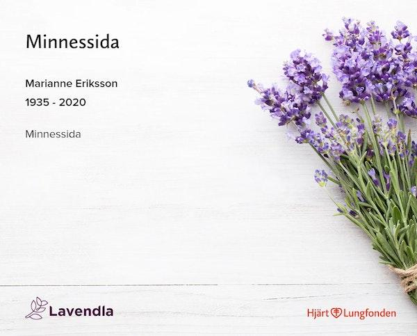 Inbjudningskort till ceremonin för Marianne Eriksson