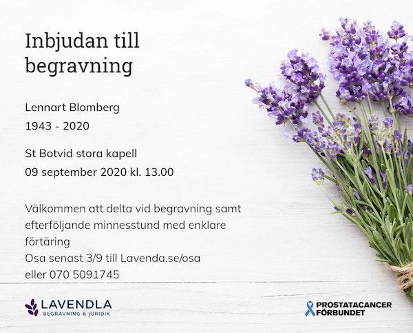Inbjudningskort till ceremonin för Lennart Blomberg