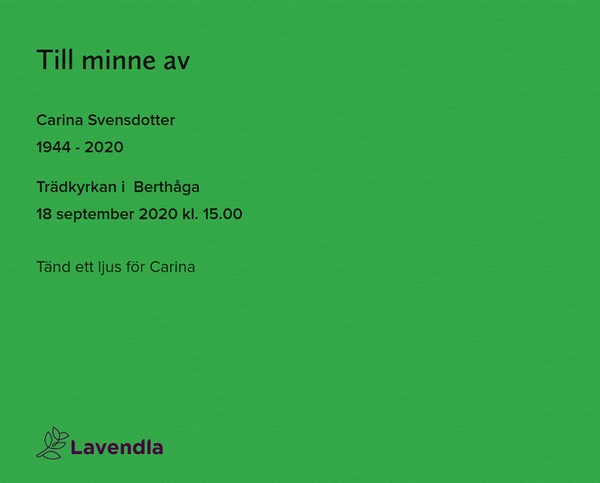 Inbjudningskort till ceremonin för Carina Svensdotter
